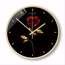New 3D Wall Clock Silent Movement Metal Golden Rose 12inch/14inch Large Size Luxury Scan Modern Design