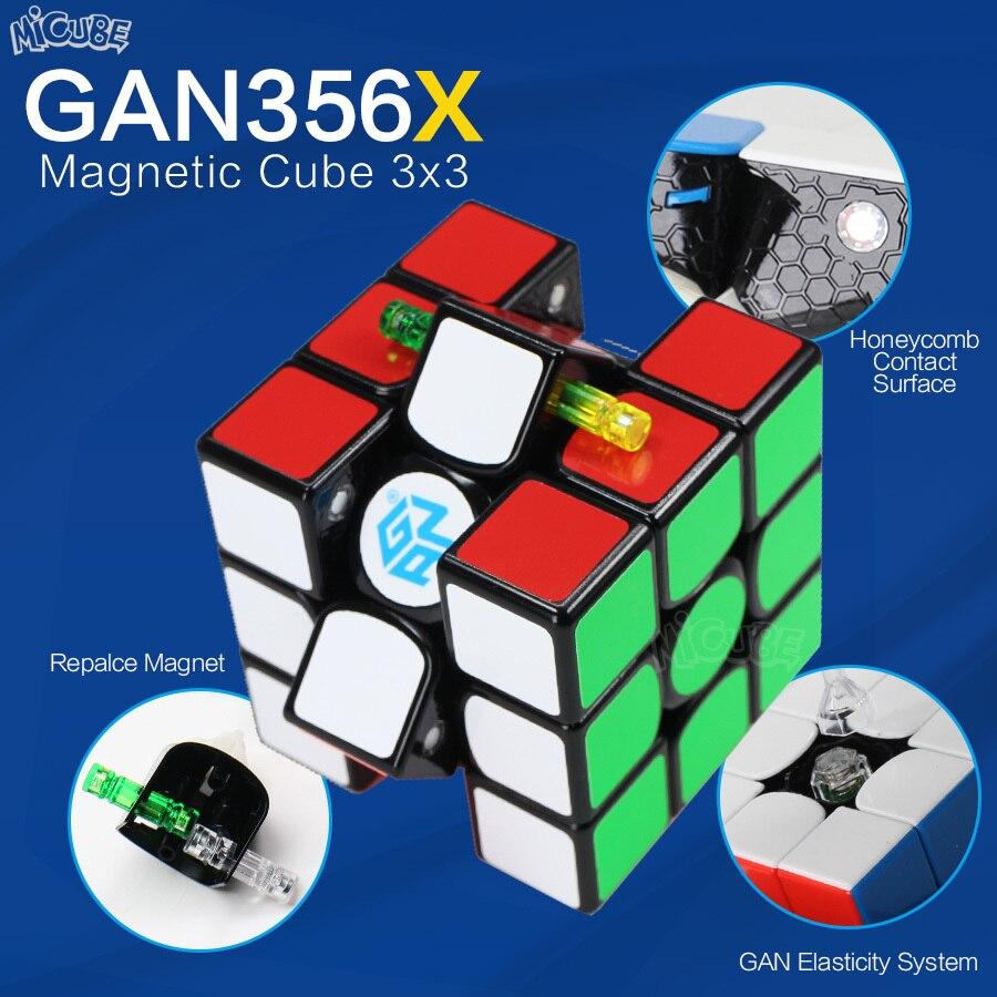 Gan356 x 3x3x3 cubo magnético 3x3x3 velocidade mágica cubo 3x3 gan cube 356x magico cubo com ímã profissional quebra-cabeça gan 356x neo