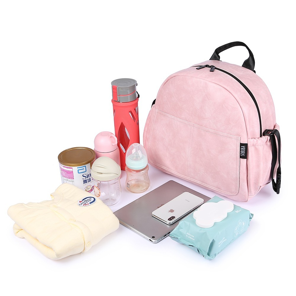 Image 4 - New Fashion Diaper Bag for Mother Pink Large Capacity Solid Baby Bag Backpack with 2 Straps Stylish Maternity Nappy Changing Bag-in Diaper Bags from Mother & Kids