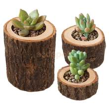 3x Natural Stump Votive Tea Light Candle Holder Wooden Candlestick Flowerpot for Home Garden Wedding Christmas Party Decoration(China)
