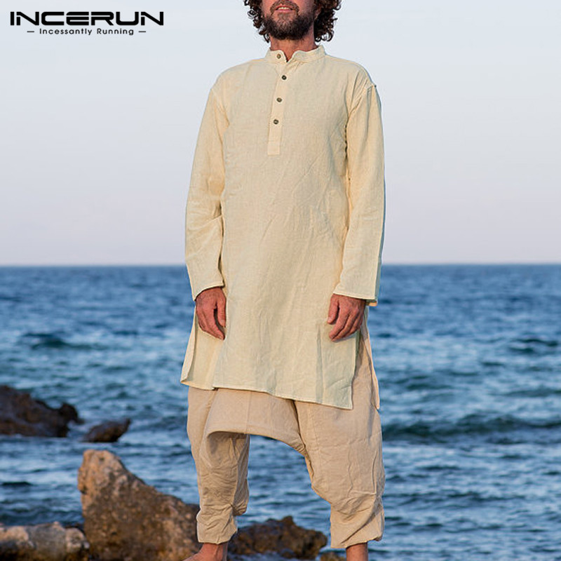 NEW  Muslim Men Clothing  Suit Mens Shirts Long Sleeve Shirt Tee Cotton Long Shirts Jubba Arab Islamic Kaftan Abaya