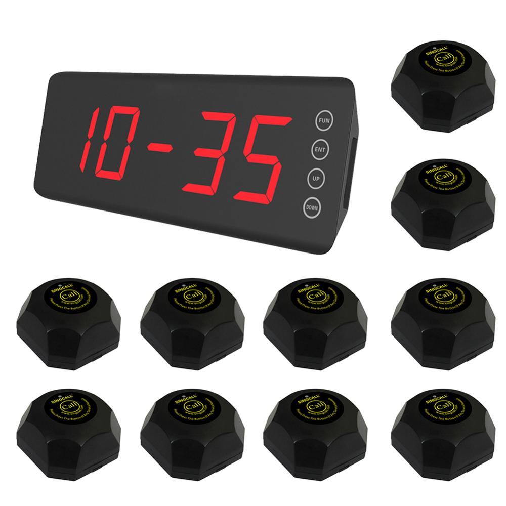 SINGCALL wireless kellner wartung system, 10 stücke schwarz farbe tasten APE560 und einem festen bildschirm empfänger SC-R50