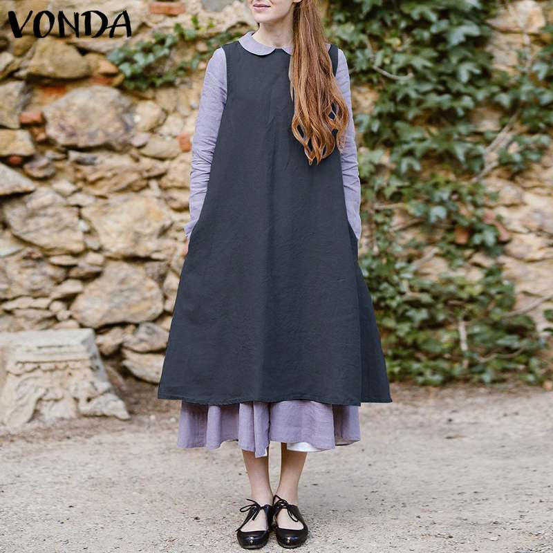 VONDA Women Vintage Cotton Dress Apron 2019 Summer Sleeveless O Neck Pockets Dresses Casual Loose Mid-Calf Solid Vestidos Baggy