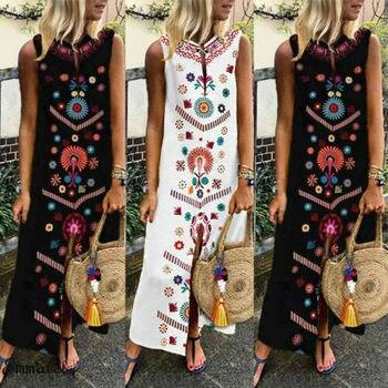 dd6a32242f6c429 2019 Boho Женщины плюс летние каникулы вечерние длинные макси платье-сарафан  без рукавов кафтан платье S-5XL