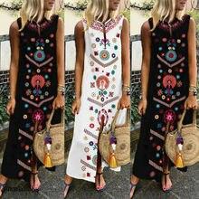 2019 Boho Women Plus Summer Vacation Party Long Maxi Dress Sleeveless Sundress Kaftan Dress S-5XL