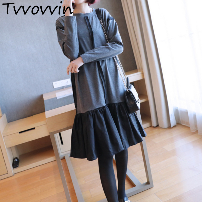 2019 New Fashion Spring Ruffle Patchwork Hemlin Female's Dress Long Sleeve Loose O-neck Loose Casual Cloth Vestido L460