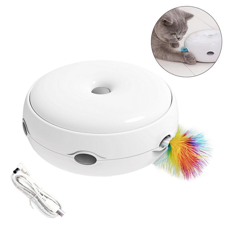 Hohe qualität Elektrische Katze Spielzeug Smart Necken Katze Stick Verrückte Spiel Spinning Plattenspieler Fang Maus Donut Automatische anti-slip