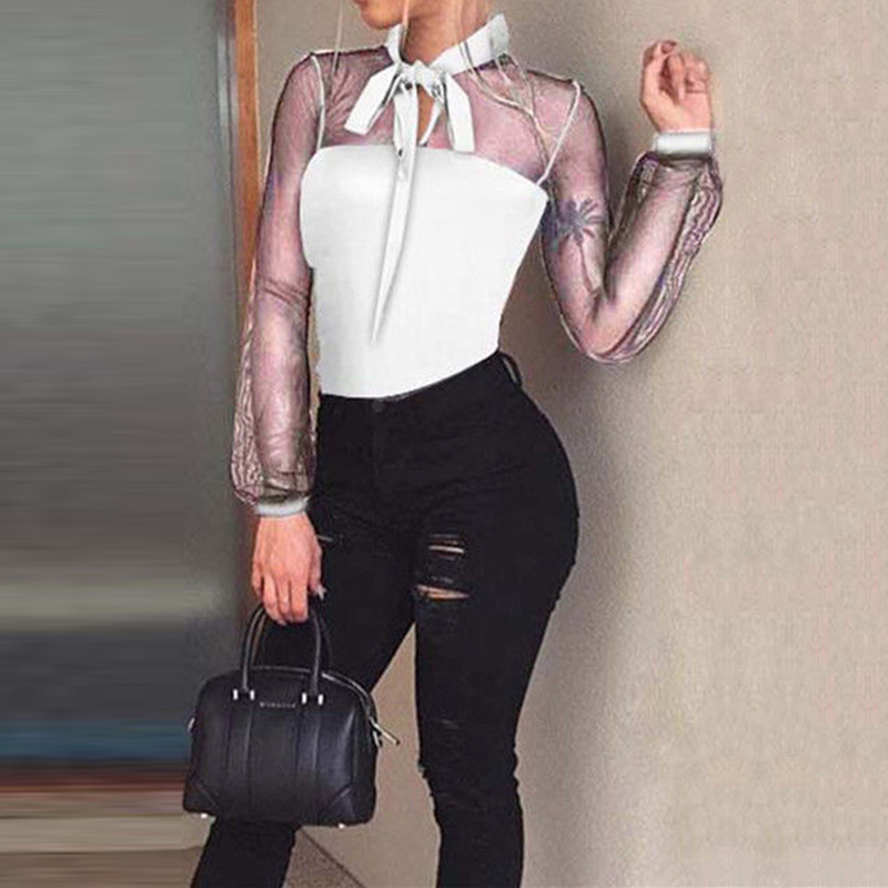 Women Sexy Lace Mesh Blouse Bodysuit Woman Long Sleeve Spring Clothing Wear Transparent Bow Tie Romper Elegant Blouse Bodysuits