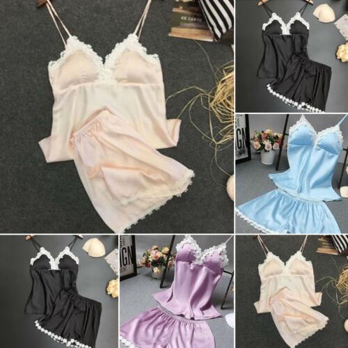 Women Satin Lace Sleepwear Babydoll Lingerie Nightwear Shorts Pyjamas Set