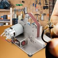 DIY Mini Belt Sander Bench Mount Grinder Polishing Grinding Machine Buffer Electric Angle Grinder Aluminum Alloy Wood