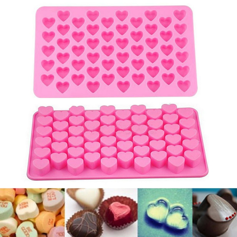 Silicone 55 Heart Cake Chocolate Cookies Baking Mould Ice Cube Soap Mold Tray Home Kitchen Cooking Tool