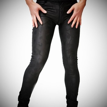 Camouflage Print Male PU Leather Stretch Tight Pants Plus Size XXL Men Skinny Thin Trousers Night Club Dance Stage Pants A9072