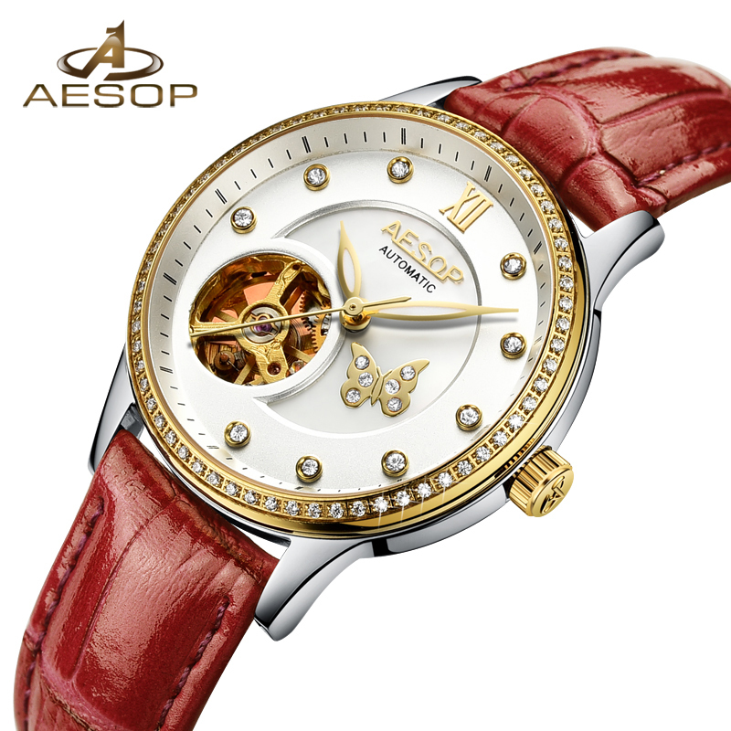 Aesop Fashion Women Watch Automatic Mechanical Wristwatch Leather Ladies Clock Waterproof Relogio Feminino Montre Femme 9009l