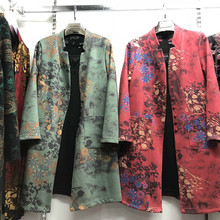Plus Size 2019 New Spring Autumn Women Long Sleeve Jackets Coat Female Outwear Casual Pocket Floral Print Coat Chaqueta Mujer plus size letter print pocket design coat