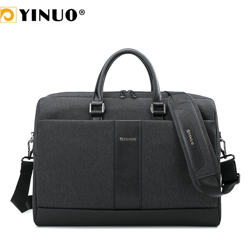 Yinuo Men Briefcase 15inch Laptop Bag Waterproof Multifunction Business Man Shoudler Bag Detachable Handbag