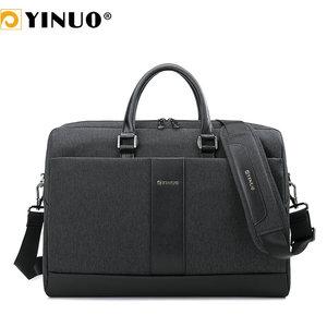 YINUO Men Briefcase 15inch Laptop Bag Waterproof Multifunction Business Man Shoudler Bag Detachable Handbag