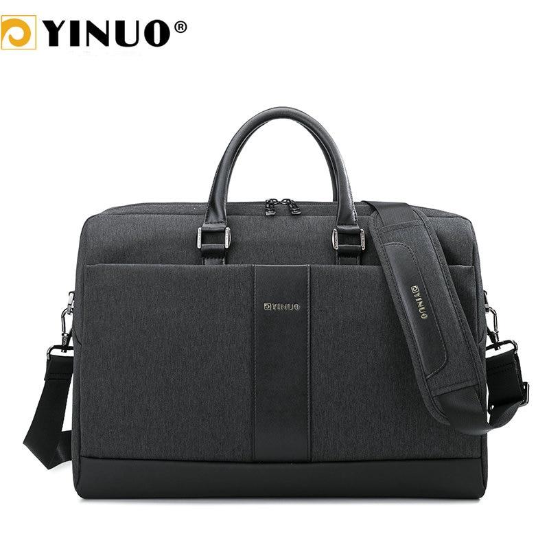 YINUO Men Laptop Briefcase For 15inch High Capacity Laptop Bag Waterproof Business Shoudler Bag Detachable Strap Handbag