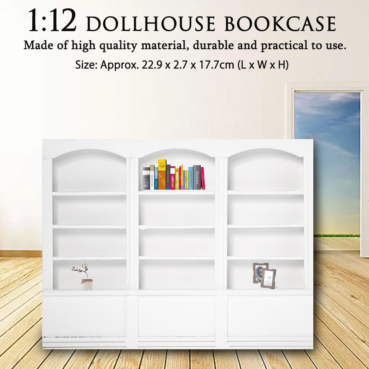 1:12 Multifunction Wood Cabinet Bookcase Dollhouse Miniature Furniture Kitchen Dining Display Shelf White 22.9x2.7x17.7 Cm