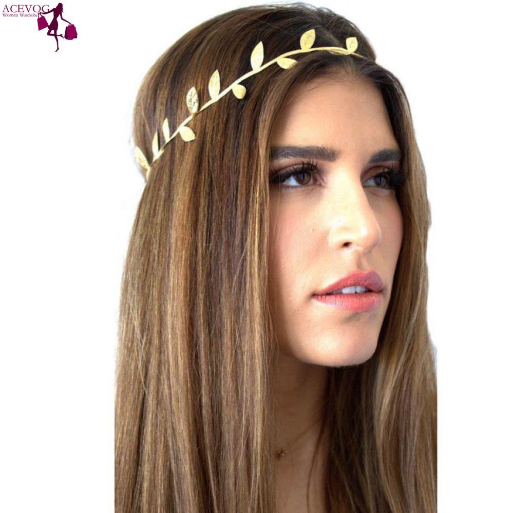 ACEVOG Accessories Design   Headwear   Hair Hair Lady Fashion Women Head Bronzing Elastics For Girl Band Headband Goddess Leaves