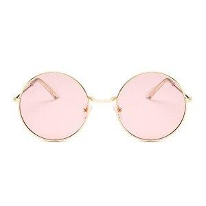 2019 ريترو جولة الوردي النظارات الشمسية المرأة العلامة التجارية مصمم نظارات شمسية للنساء سبائك مرآة الإناث Oculos دي سول الأسود
