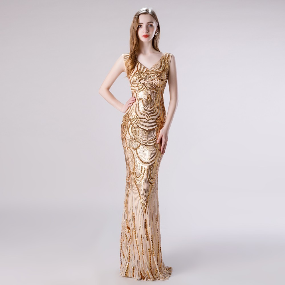 Vivian's Bridal Vintage Hand Made Sequin Pattern Women   Prom     Dress   2019 Sexy Deep V-neck Backless Sleeveless Mermaid Party   Dress