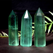 Natural rough stone ornaments green fluorite hexagonal crystal column colorful  blue wholesale  quartz crystals