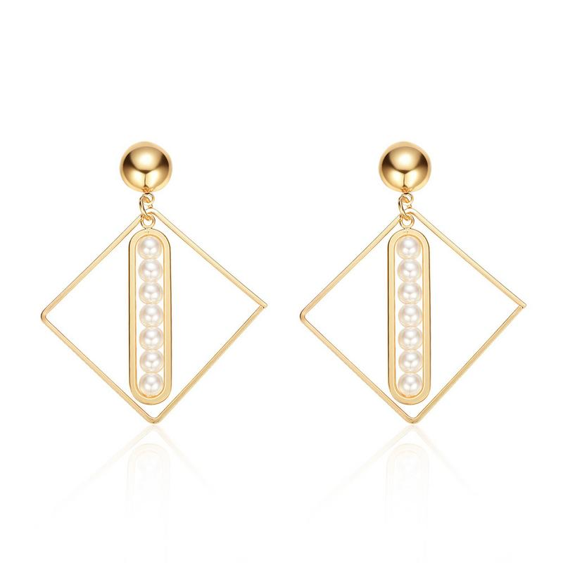 European And American Style Spring And Summer Geometric Figures Embedded With Pearl Earrings For Women