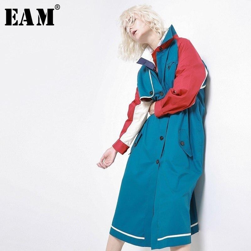 [EAM] 2019 New Spring Lapel Long Sleeve Hit Color Split Joint Loose Long Windbreaker Women Coat Fashion Tide JH361