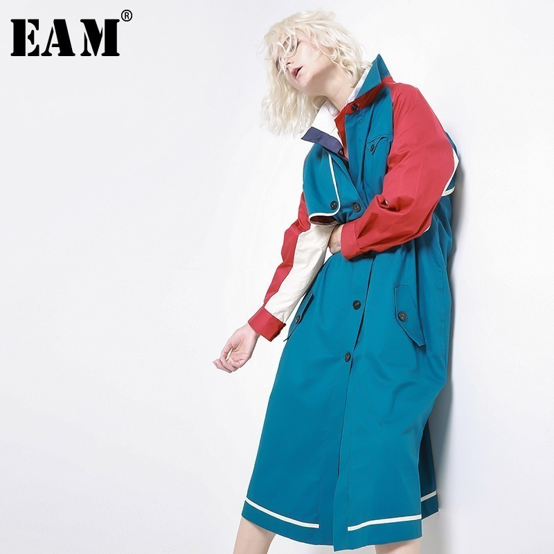 [EAM] 2020 New Spring Lapel Long Sleeve Hit Color Split Joint Loose Long Windbreaker Women Coat Fashion Tide JH361