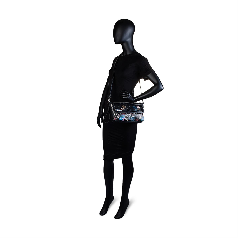 Colección Pierre Bolso Bandolera De Mujer Con Asa de hombro ajustable, exterior en lona Lona bordado flores ,Color Negro 95561 6