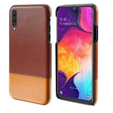 купить For Samsung Galaxy A50 Case Luxury Vintage PU Leather Capsule Dual Color Hard PC Back Cover For Samsung A50 2019 A505F Case Slim по цене 217.54 рублей
