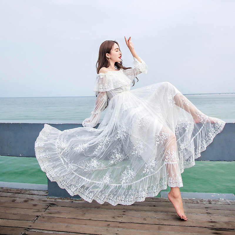 7970784a9117 YOSIMI 2018 Summer Maxi Vintage Lace Long Women Dress Tunic White Fairy  Evening Party Off The