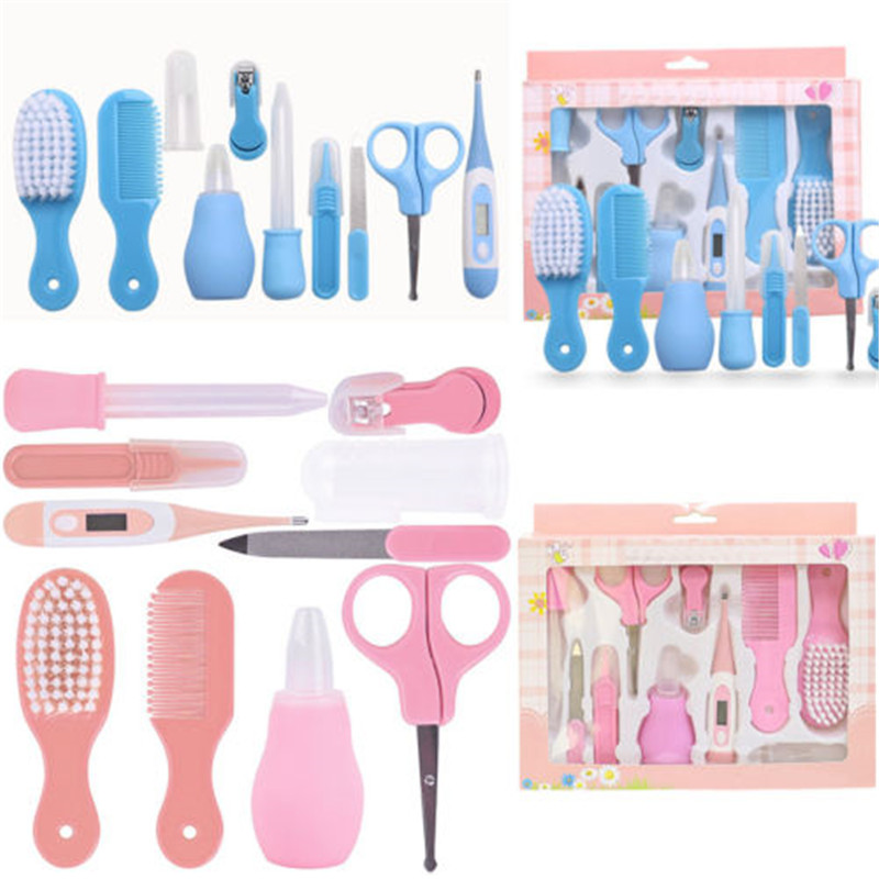 10Pcs Kids <font><b>Baby</b></font> Infant Nail Hair <font><b>Health</b></font> Care Kit Set Grooming Thermometer Brush Grooming Healthcare Kits Hot <font><b>Baby</b></font> Care Tools New image
