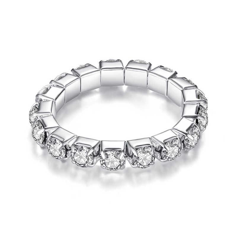ขายร้อน Bright Silvery Shining ยืดหยุ่นแหวนคริสตัลแหวนผู้หญิงเครื่องประดับ