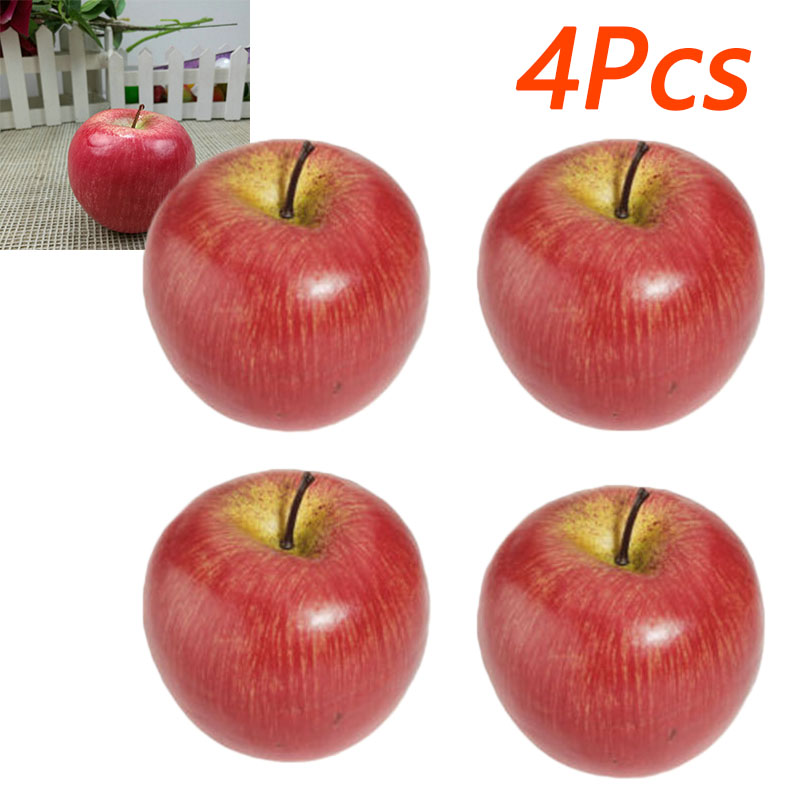 4pcs Artificial Fruit Plastic Apple Fake Red Apples Display For Kitchen Home Foods Decor