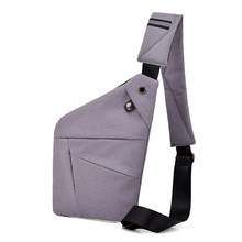 Multi Pocket Chest Bag For Male Messenger Bag Men Anti-Theft Sling Men Bag Chest Pack Unisex With Headset Interface Gray(China)