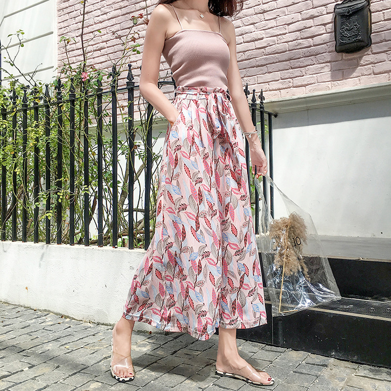 Summer Chiffon   Wide     Leg     Pants   Women Leaf Printing High Waist Bandage Beach Fashion Style Elegant Vintage Ankle Length Bottoms