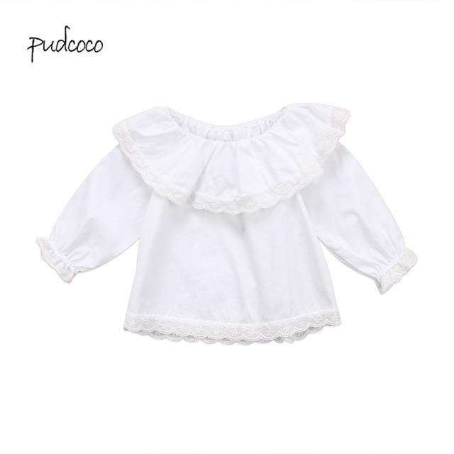 d0bdb44f Pudcoco 2019 New Brand Newborn Baby Girls Lace Collar Long Sleeve Ruffles T-shirt  Clothes