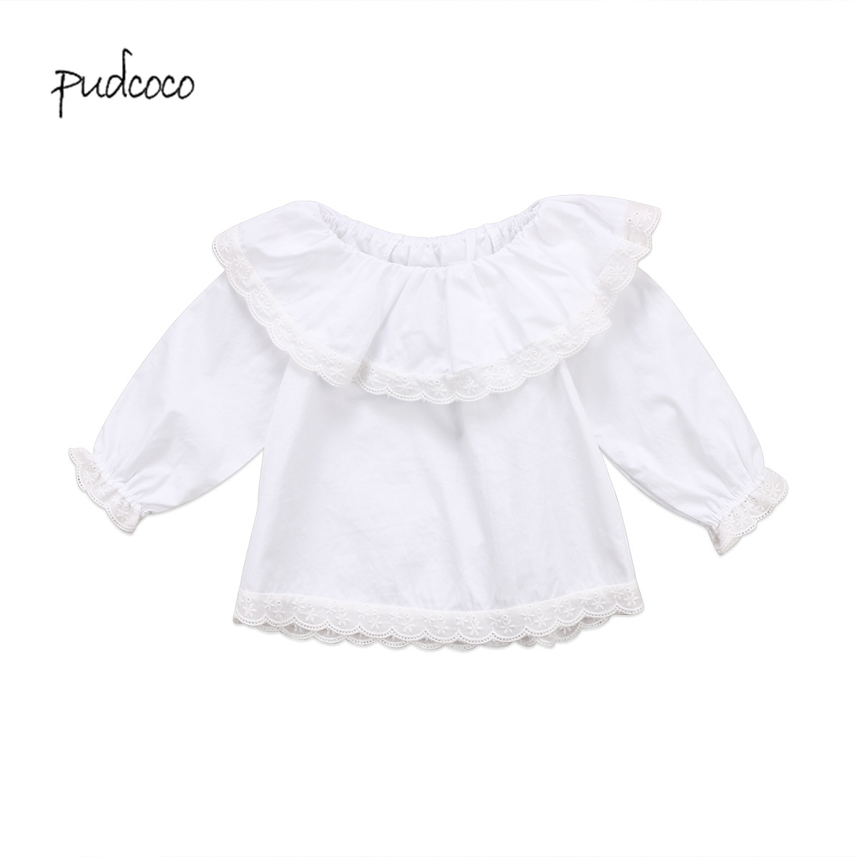 Pudcoco 2019 New Brand Newborn <font><b>Baby</b></font> Girls Lace Collar <font><b>Long</b></font> <font><b>Sleeve</b></font> Ruffles T-<font><b>shirt</b></font> Clothes image