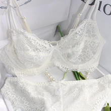 Hot selling fashion bra lace comfortable breathable sexy underwear charming thin ribbon bra set Free shipping(China)