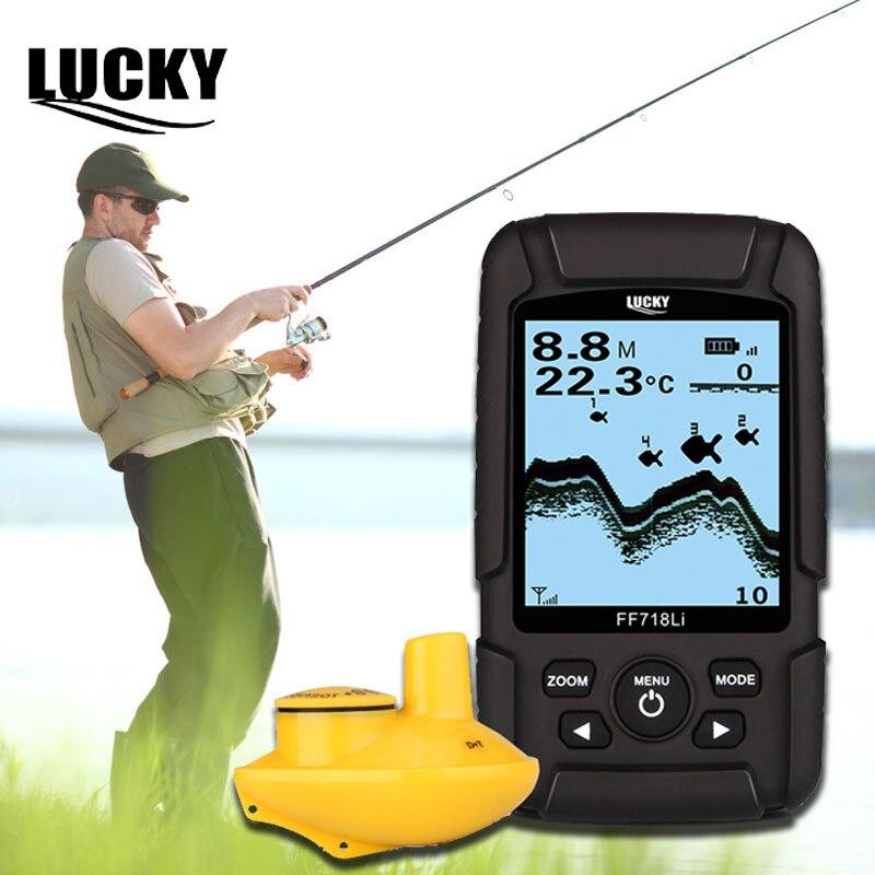 Lucky Echo Sounders Sonar for Fishing Fish Fishfinder Boat Sonar sensor Wireless Depth Finder Fishing Sounder FF718Li-W #F5 Эхолот для рыбалки