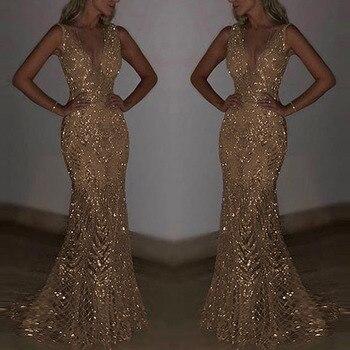 f8f66a53502 Lujo sexy sin mangas mujer V profunda vestidos para fiesta de club de noche  desgaste formal de Slim montaje largo a vestido vestido