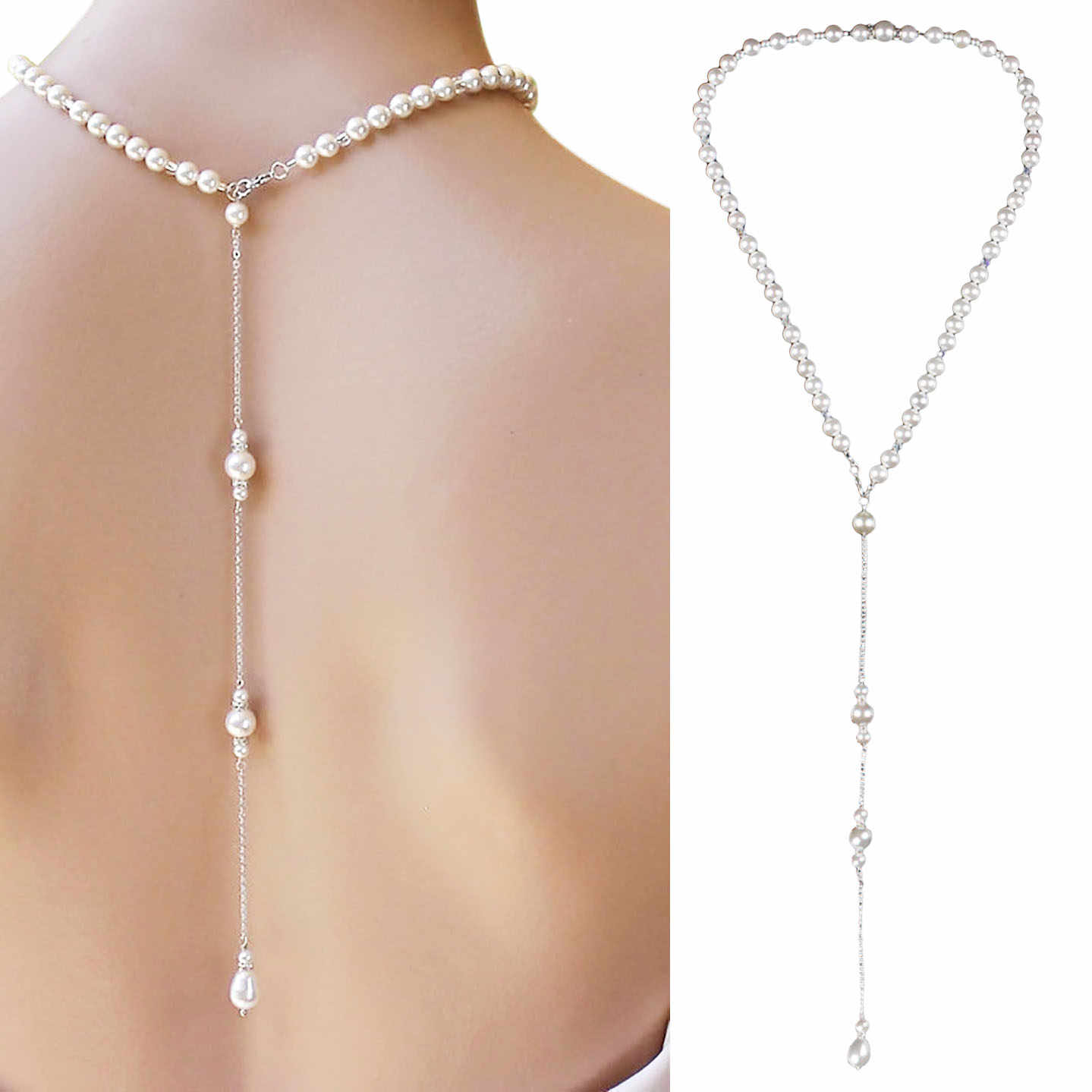 2019 New Simulated Pearl Backdrop Necklaces Back Chain Jewelry For Women Party Wedding Backless Dress Accessories