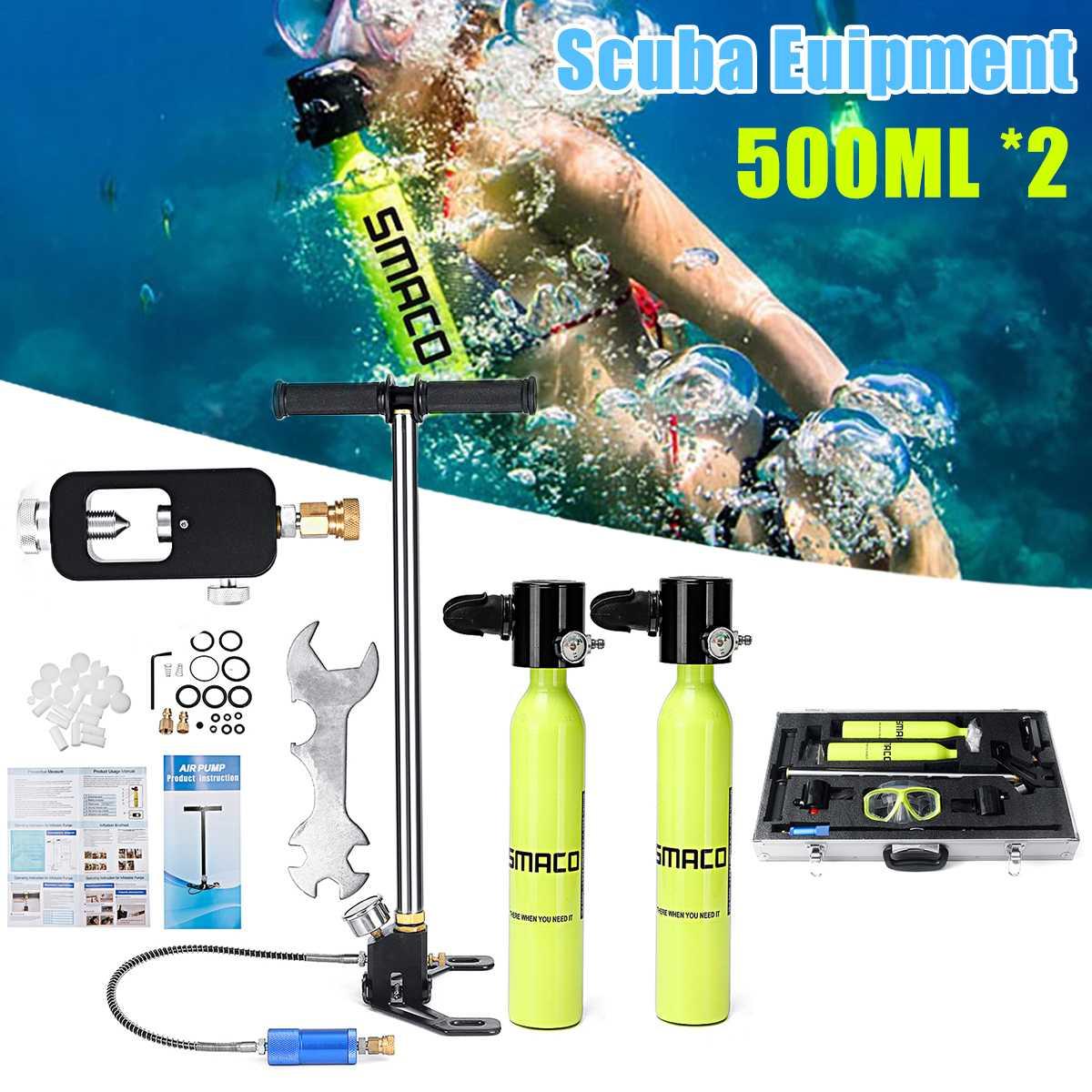 6 en 1 500 ml système de plongée Mini bouteille de plongée sous-marine réserve d'oxygène pompe à réservoir d'air boîte en aluminium équipement de plongée en apnée ensemble