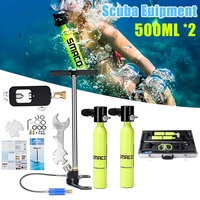 6 in 1 500ml Diving System Mini Scuba Cylinder Scuba Oxygen Reserve Air Tank Pump Aluminum Box Snorkeling Diving Equipment Set