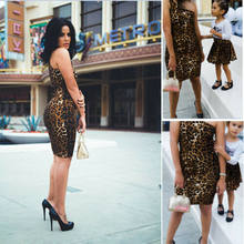 2019 Family Match Leopard Dress Mother Daughter Womens Girls leopard fashion sexy Outfit Casual Party Dress(China)