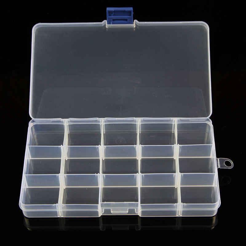 Yeni Plastik 15 Yuvaları Ayarlanabilir Takı saklama kutusu Çantası Zanaat Organizatör Boncuk saklama kutusu es