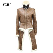 db7850c8b VGH Winter Lambswool Oversized Jacket Coat For Women Fur Warm Asymmetric  Loose