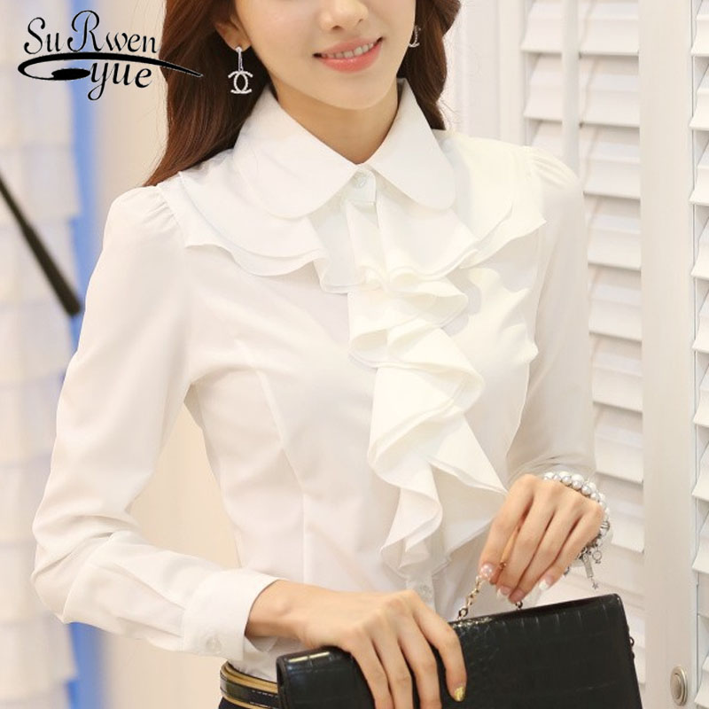 New Arrival 2018 Chiffon Long Sleeve female   blouse     Shirt   Fashion Ruffles Ladies White Black Office   Blouses   Women Clothes 8C81