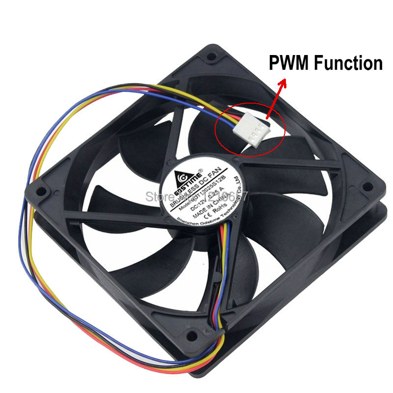 2PCS Lot Gdstime Hydraulic 120mm X 25mm 12cm 4 Pin 12V PWM FG Cooling Fan For Computer CPU Cooler
